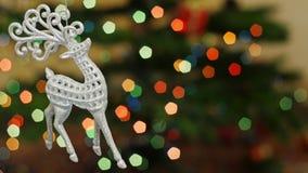 Skakor för julhjortleksak på bokeh Titelområde stock video