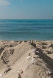 Skal på sand på avslappnande bakgrund för kust Arkivbilder