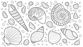 Skal vektorillustration för vuxen färgläggningbok Arkivbilder