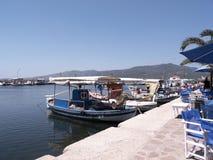 Skala的卡洛尼Lesvos希腊港口 免版税库存照片