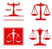 Skala av rättvisasymbolet - uppsättning Arkivbilder