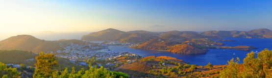 Skala bay, Patmos island Stock Photo