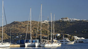 Skala Bay on Patmos Island. Scenic view of boats moored in Skala Bay on the island of Patmos, Greece Royalty Free Stock Images