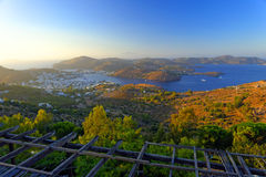 Skala bay, Patmos island. The bay of Skala town on Patmos island, Aegean sea, Greece Stock Photo