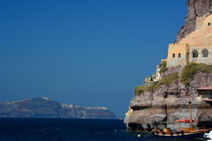 Skala, de oude haven in Santorini-haven Santorini, de eilanden van Cycladen Griekenland Royalty-vrije Stock Afbeeldingen