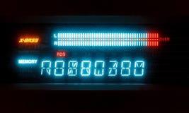 Skala der Lautstärke auf belichtetem Indikator Stockbild