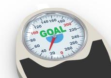 Skala des Gewichts 3d mit Wortziel Lizenzfreie Stockfotos