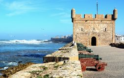 Skala Du Port fortyfikacje w porcie Essaouira Zdjęcia Stock