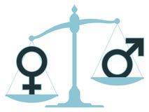 Skala med manliga och kvinnliga symboler som visar obalans Arkivfoto