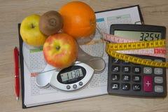 Skala mit gesunder Herzmitteilung und messendes Band auf Tabelle Frauenbauch mit messendem Band als Gurt, getrennt auf weißem Hin Lizenzfreie Stockfotos