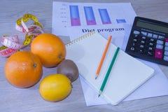 Skala mit gesunder Herzmitteilung und messendes Band auf Tabelle Frauenbauch mit messendem Band als Gurt, getrennt auf weißem Hin Lizenzfreie Stockbilder