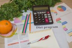 Skala mit gesunder Herzmitteilung und messendes Band auf Tabelle Frauenbauch mit messendem Band als Gurt, getrennt auf weißem Hin Stockfoto