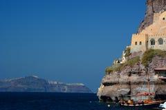 Skala, o porto velho no porto de Santorini Santorini, ilhas de Cyclades Greece Imagens de Stock Royalty Free