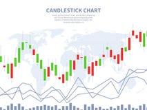 Skala på finansiell graf Världskarta för stearinljuspinnediagram Global finansiell marknadsföring, forex för utbytesinvesteringab royaltyfri illustrationer
