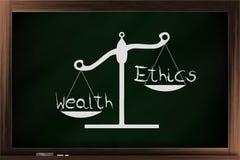 Skala von Ethik und von Reichtum Stockbild