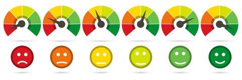 Skala von Rotem zum Grün mit Pfeil und Skala von Gefühlen Lizenzfreie Stockfotos