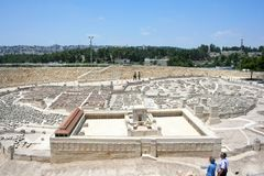 Skalamodell av Jerusalem i den andra tempelperioden, Israel Museum arkivfoton