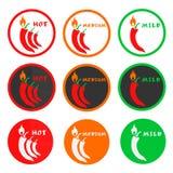 Skalasymbol av chilipeppar Fotografering för Bildbyråer