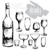 Skaldjur alkoholexponeringsglas, flaska, meny, mall stock illustrationer