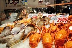 Skaldjur för försäljning i Sydney Fish Market Arkivfoto