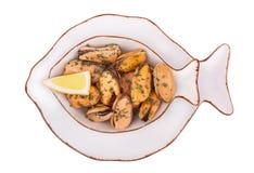 Skaldjur-musslor Arkivbild
