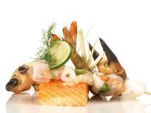 Skaldjur och fisk arkivbild