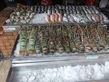 Skaldjur och hummer på räknaren i marknaden i Pattaya i Thailand arkivbild