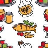 Skaldjur och olivolja för modell för Cypern kokkonst sömlös royaltyfri illustrationer