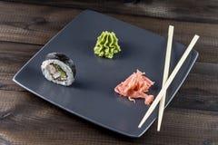 Skaldjur sköt sushi för black set Royaltyfri Bild