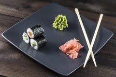 Skaldjur sköt sushi för black set Arkivfoto