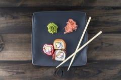 Skaldjur sköt sushi för black set Royaltyfri Foto