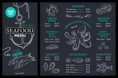 Skaldjur skissar menyn Broschyr för klotterfiskrestaurang, tappningräkning med hummerkrabbalaxen Marin- mataffisch för vektor stock illustrationer
