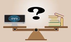 Skalen mit Büchern, Computer mit Internet und Fragezeichen Lizenzfreies Stockfoto