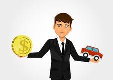 Skalen mit Dollar und Auto Stockbild