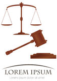Skalen von Gerechtigkeit u. Hammer von Gerechtigkeit Lizenzfreie Stockbilder