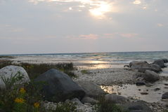 Skaliści brzeg Północny jezioro michigan zdjęcia royalty free