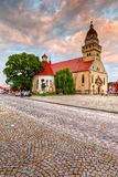 Skalica, Slovakia. Church in the main square of Skalica. HDR image royalty free stock image