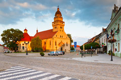 Skalica, Slovakia. Church and town hall in the main square of Skalica stock images