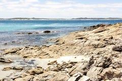Skalista denna linia brzegowa, Południowy Australia, kangur wyspa fotografia stock