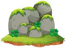 Skalista góra na wyspie ilustracja wektor