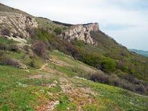 Skalista góra, połoga halna grań przy wiosną Las zakrywa wycieczkować ślad z ludźmi i wzgórza 2008 gór sosny lata crimean zdjęcie stock