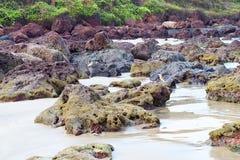 Skalista linia brzegowa - Krajobrazowy Naturalny tło Fotografia Royalty Free