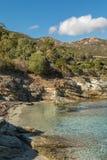 Skalista linia brzegowa pustyni des Agriates w Corsica Obraz Royalty Free