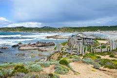 Skalista linia brzegowa w Sardinia, Włochy zdjęcie royalty free