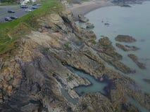 Skalista nabrzeżne donabate plaża Irlandia Fotografia Royalty Free