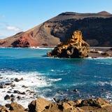 Skalista plaża El Golfo, Lanzarote Fotografia Royalty Free