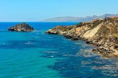 Skalisty denny wybrzeże, Agrigento, Sicily, Włochy Obrazy Stock
