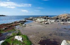 Skalisty piaskowatej plaży krajobraz zdjęcia stock