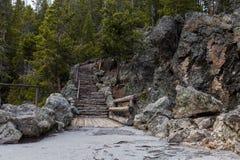 Skalisty schody przy Yellowstone Obrazy Royalty Free