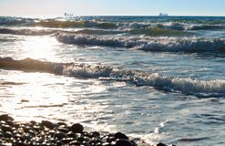 Skalisty seashore, kamienie na seashore fotografia stock